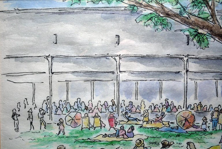 The pen-and-ink drawing with colored washes by Lauzon depicts a summer picnic scene at a Tanglewood concert in Lenox, MA. Matted and framed. Ready for hanging.