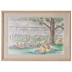 "Framed ""Tanglewood"" Sketches, Pinicking"