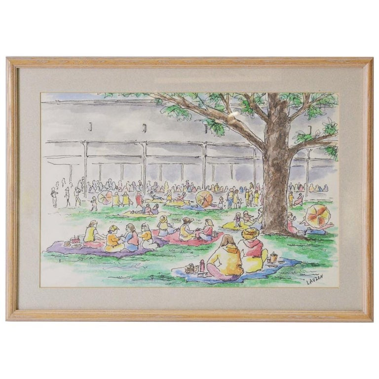 """Framed """"Tanglewood"""" Sketches, Pinicking For Sale"""