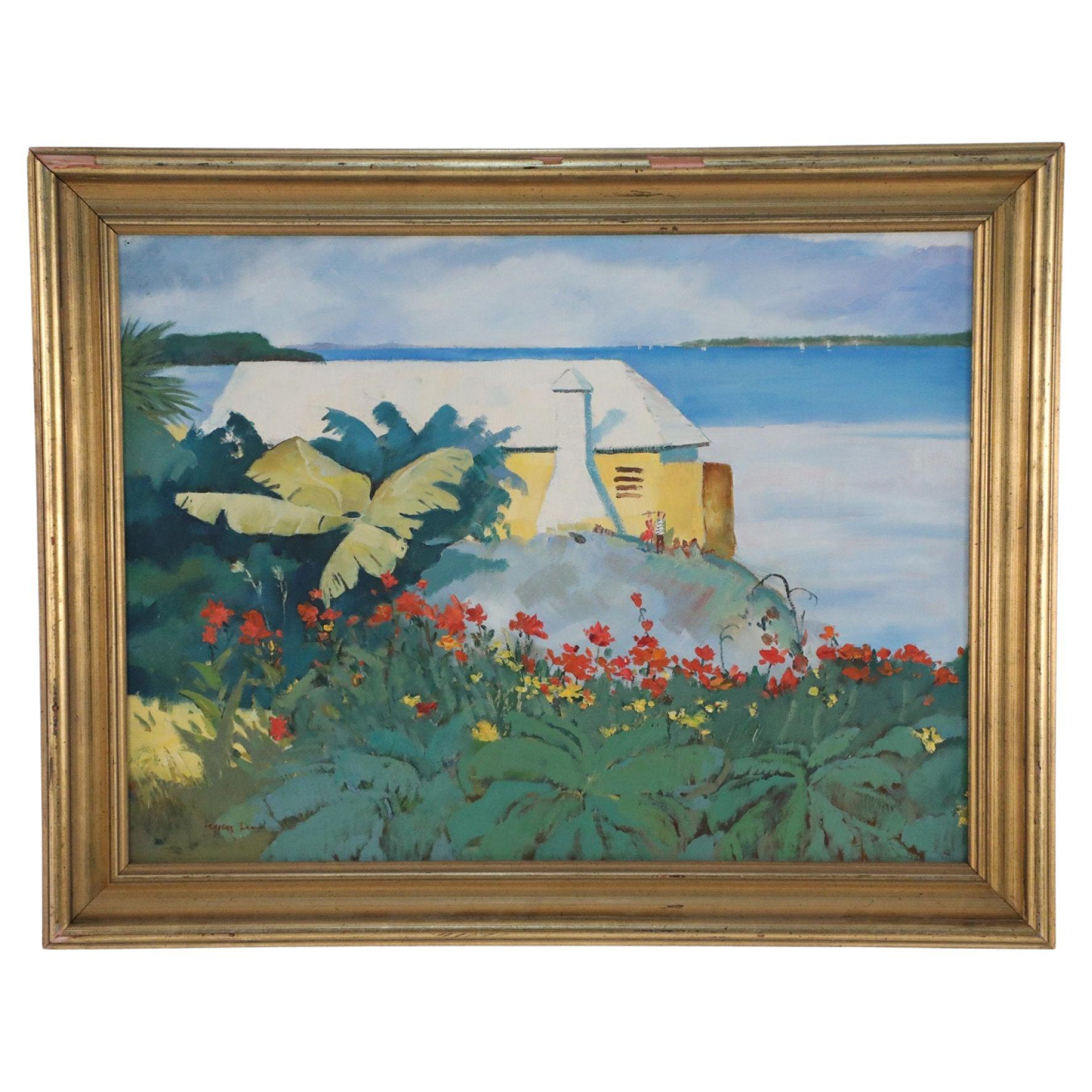 Framed Tropical Seascape Oil Painting