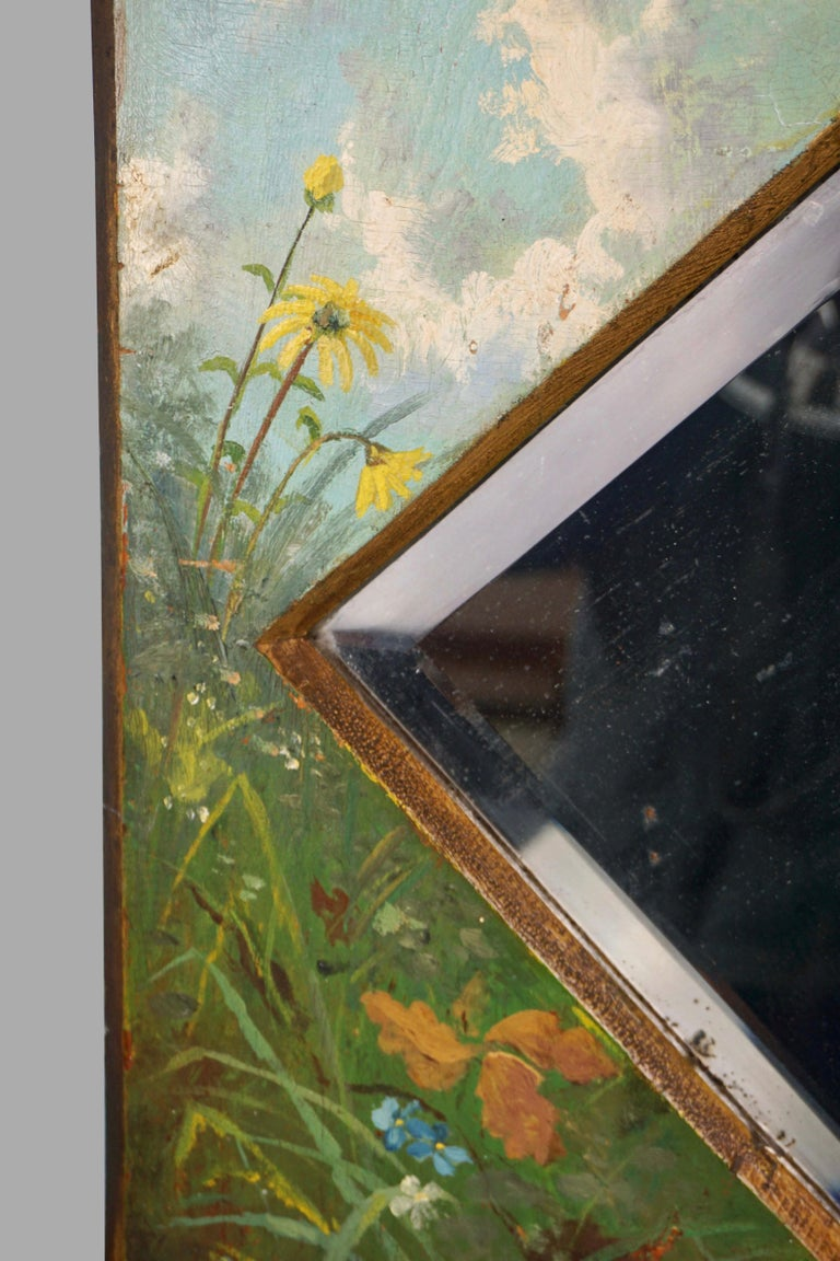 American Framed Victorian Beveled Mirror Decorated Overall with Painted Birds and Flowers For Sale