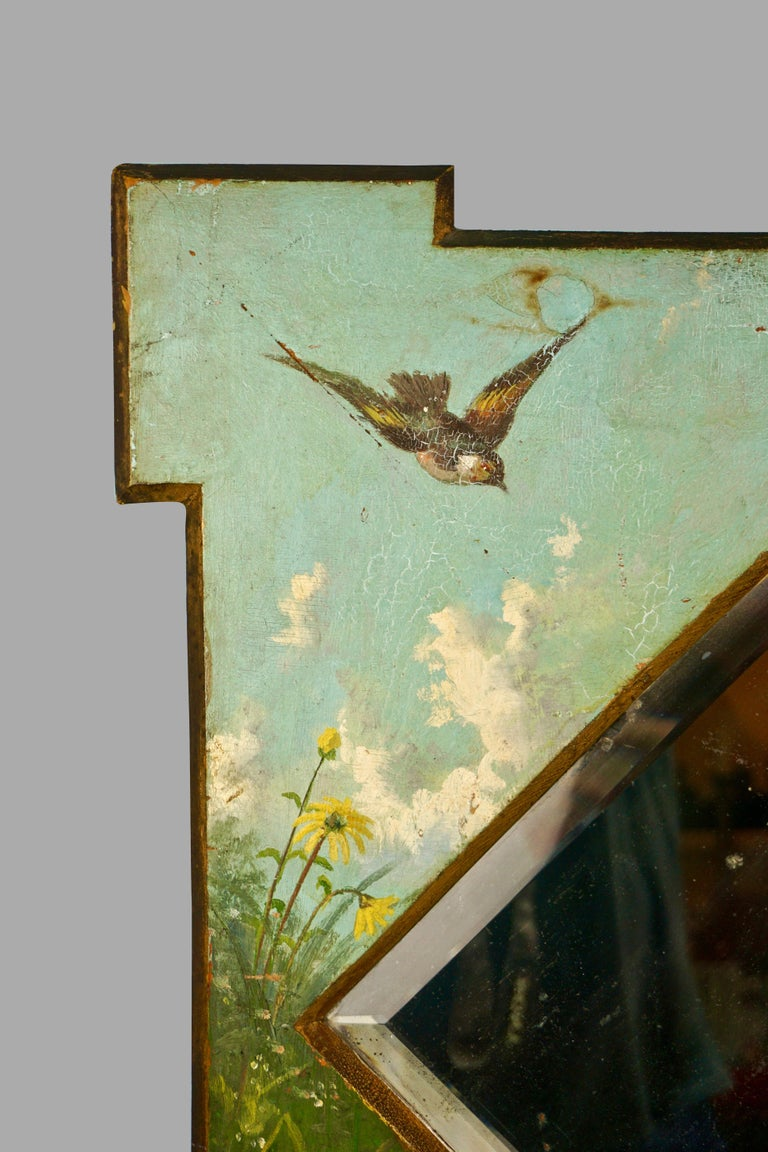 Late 19th Century Framed Victorian Beveled Mirror Decorated Overall with Painted Birds and Flowers For Sale