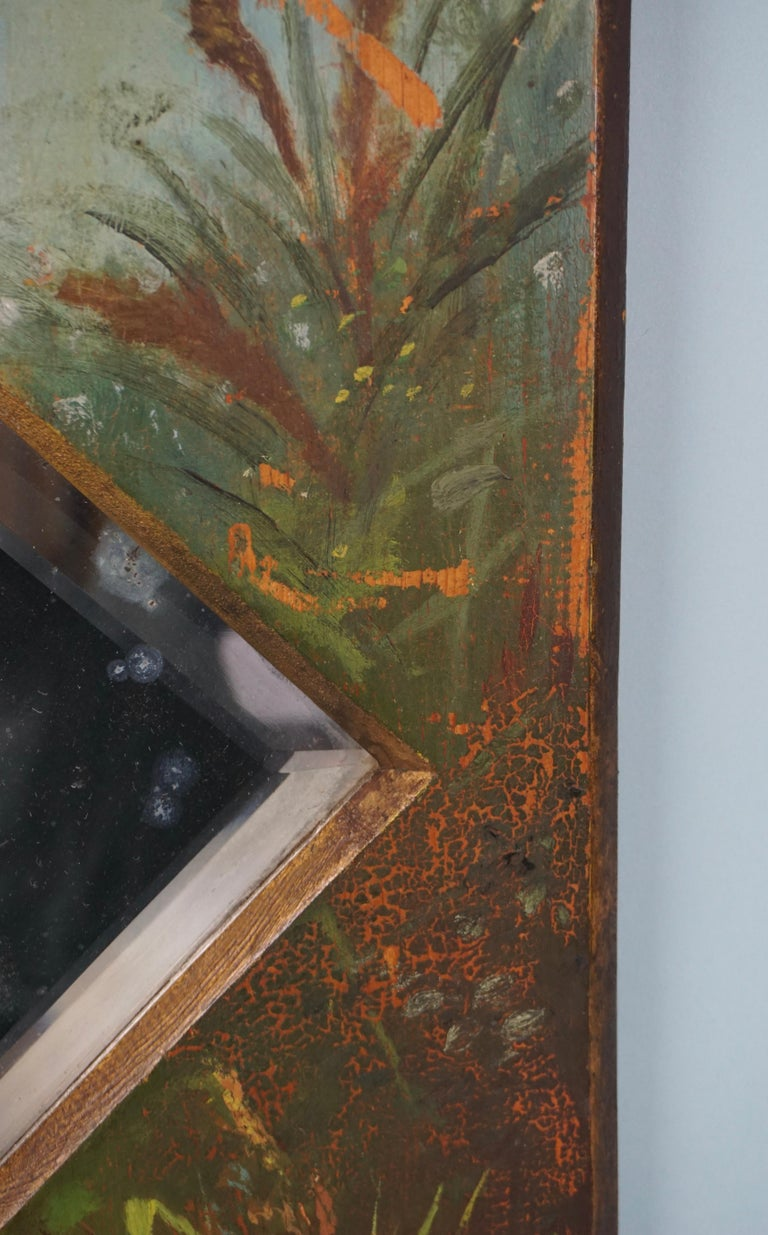 Glass Framed Victorian Beveled Mirror Decorated Overall with Painted Birds and Flowers For Sale
