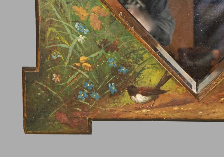 Framed Victorian Beveled Mirror Decorated Overall with Painted Birds and Flowers For Sale 1