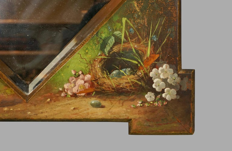 Framed Victorian Beveled Mirror Decorated Overall with Painted Birds and Flowers For Sale 2