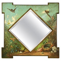 Framed Victorian Beveled Mirror Decorated Overall with Painted Birds and Flowers