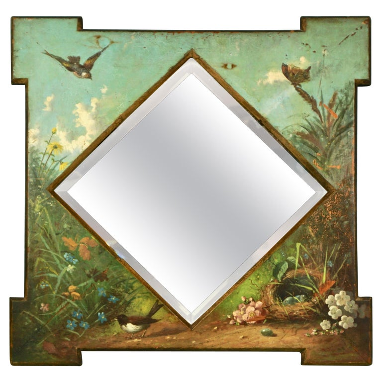 Framed Victorian Beveled Mirror Decorated Overall with Painted Birds and Flowers For Sale