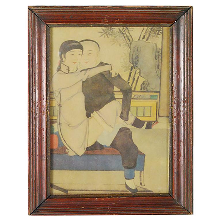 Framed Vintage Chinese Erotic Print