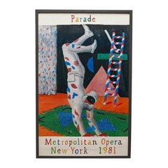 Framed, Vintage David Hockney Poster, American, Parade, Met Opera, New York