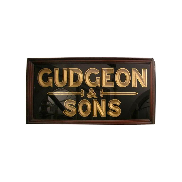 "Framed Vintage Gilded ""Gudgeon & Sons"" Sign from 19th Century, England For Sale"