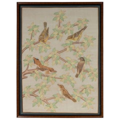 Framed Vintage Indian Pastel Color Painting with Birds in Trees on Beige Silk