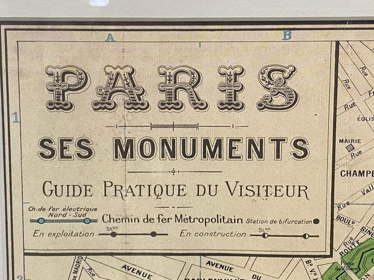 Framed vintage Paris visitor guide, circa 1940s-1950s.  A fantastic vintage visitor guide of Paris depicting all of the great landmarks and stations  Dimensions 26.5