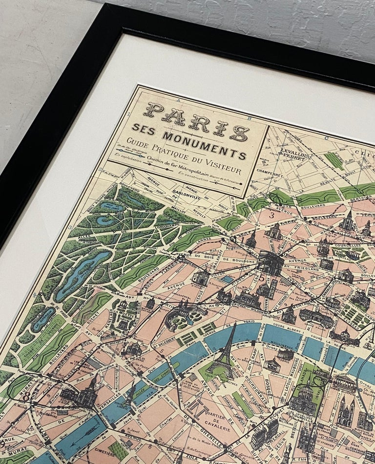French Framed Vintage Paris Visitor Guide, circa 1940s-1950s For Sale