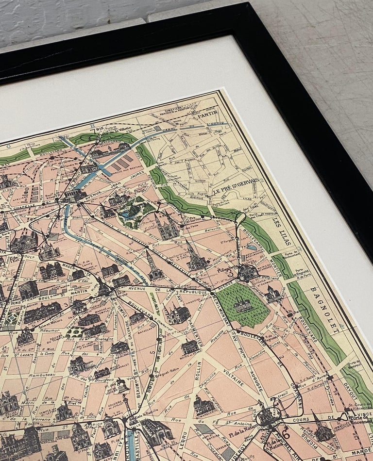 Hand-Crafted Framed Vintage Paris Visitor Guide, circa 1940s-1950s For Sale