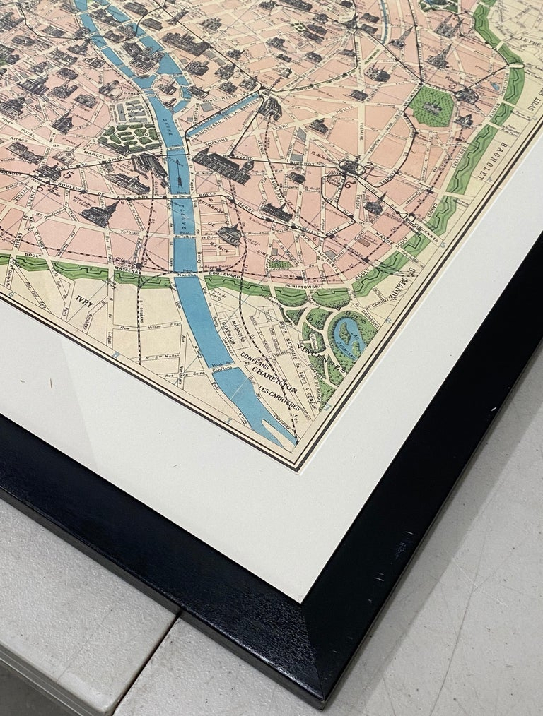 Framed Vintage Paris Visitor Guide, circa 1940s-1950s In Good Condition For Sale In San Francisco, CA