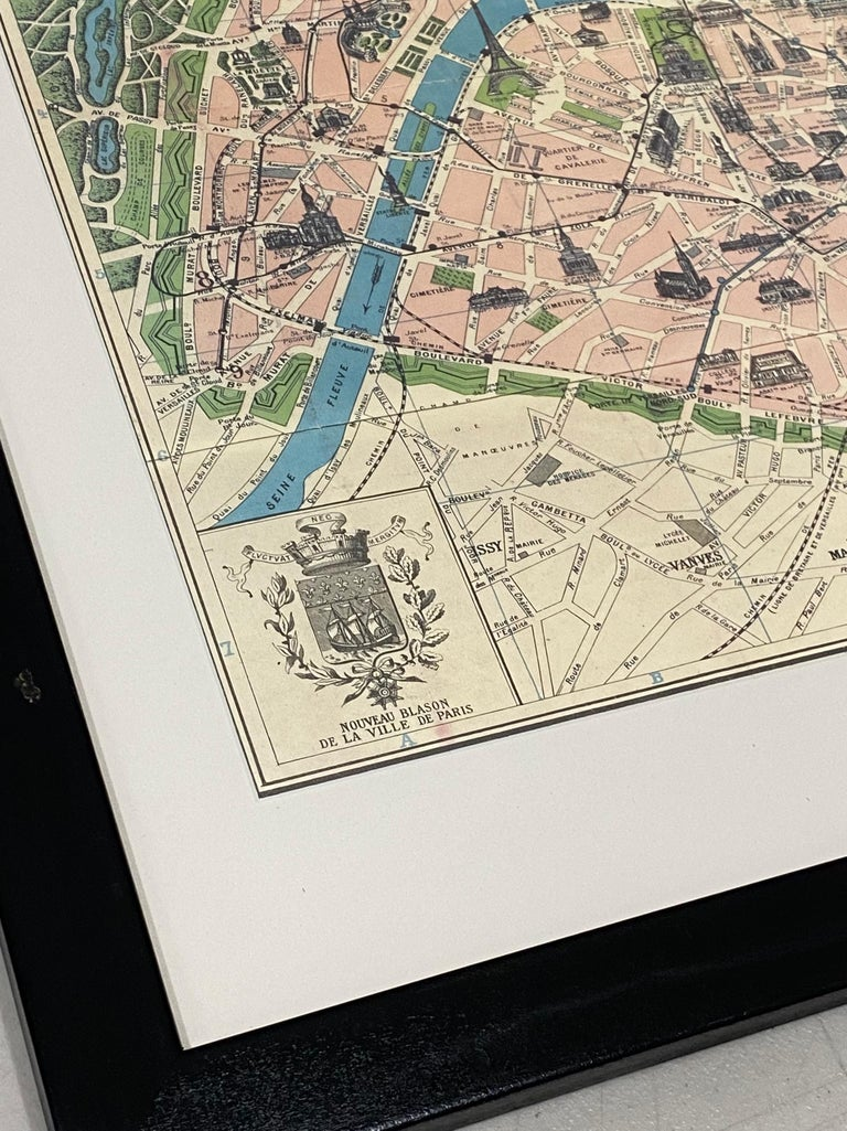 20th Century Framed Vintage Paris Visitor Guide, circa 1940s-1950s For Sale