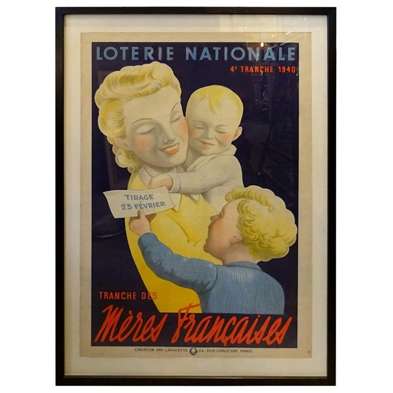 Framed Vintage Poster, French National Lottery, 1938-1944 For Sale