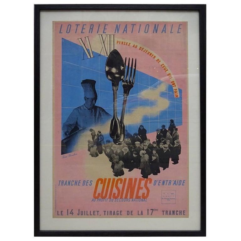 Framed Vintage Poster, French National Lottery, 1938-1944 For Sale