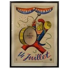 Framed Vintage Poster, French National Lottery, 1938-1944