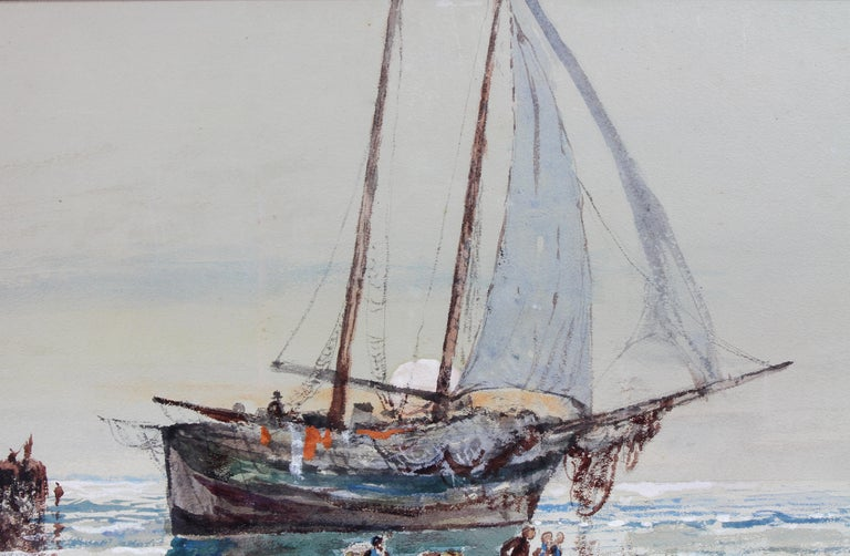Framed Watercolor by Edmund Darche Lewis In Good Condition For Sale In Essex, MA