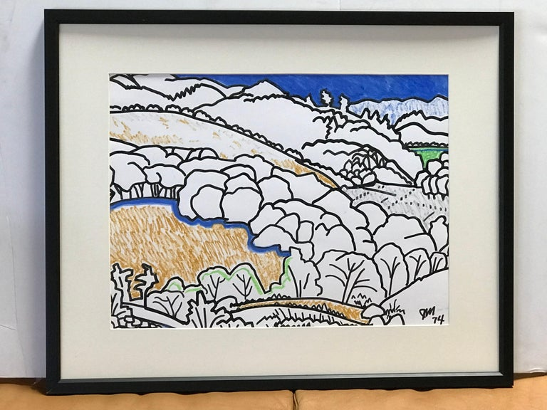Framed serene landscape watercolor by James McCray (1912-1993), signed by the artist and dated 1976. McCray taught at the California School of Fine Arts in San Francisco during the 1940s. He had solo and group exhibitions from 1935-1966. Among them: