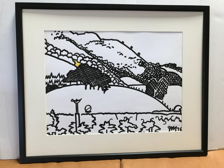 Framed black and white landscape watercolor by James McCray (1912-1993), signed by the artist and dated 1976. McCray taught at the California School of Fine Arts in San Francisco during the 1940's. He had solo and group exhibitions from 1935-1966.
