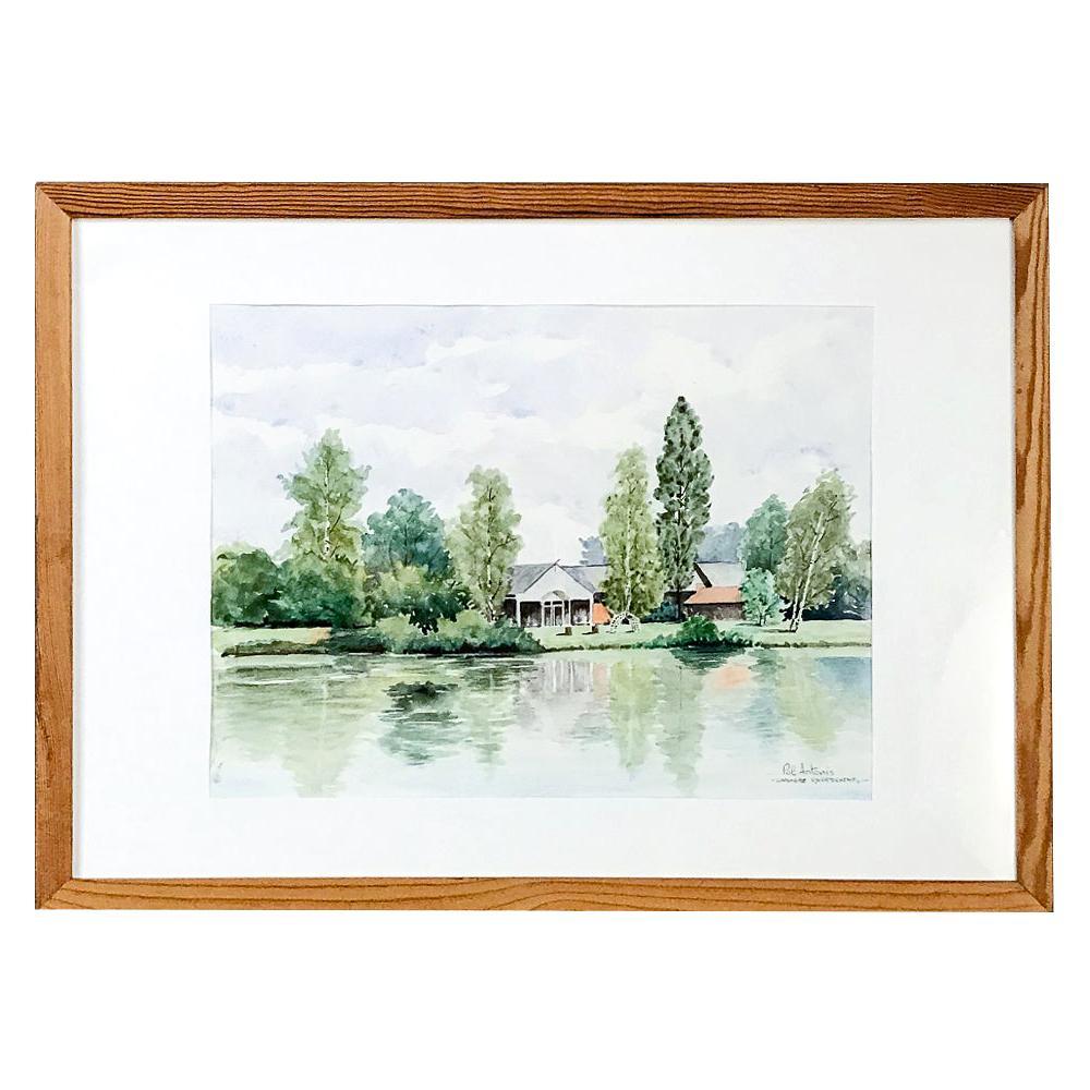 Framed Watercolor by Pol Antonis, circa Midcentury