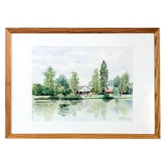 Framed Watercolor by Pol Antonis, circa Midcentury
