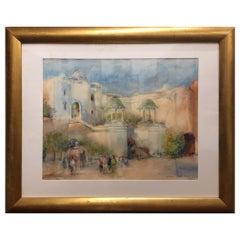 "Framed Watercolor ""Jodhpur Fort - Elephants"" India, Michael Chaplin"