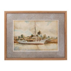 Framed Watercolor on Paper of a Cuban Sailboat
