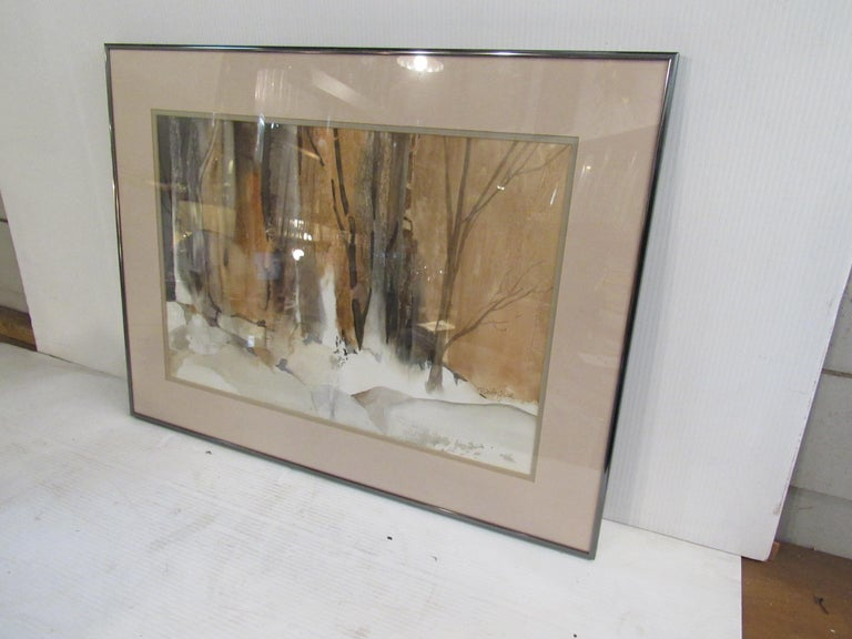 American Framed Watercolor Painting Signed by Artist Patricia Davis-Ganek For Sale