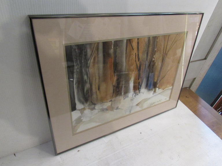 Framed Watercolor Painting Signed by Artist Patricia Davis-Ganek In Good Condition For Sale In Brooklyn, NY