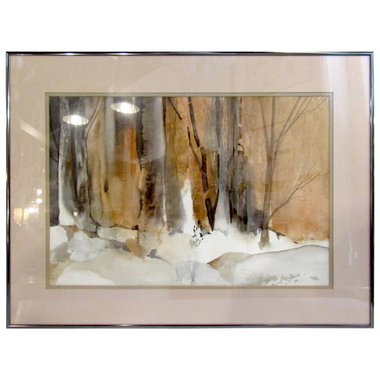 Framed Watercolor Painting Signed by Artist Patricia Davis-Ganek For Sale