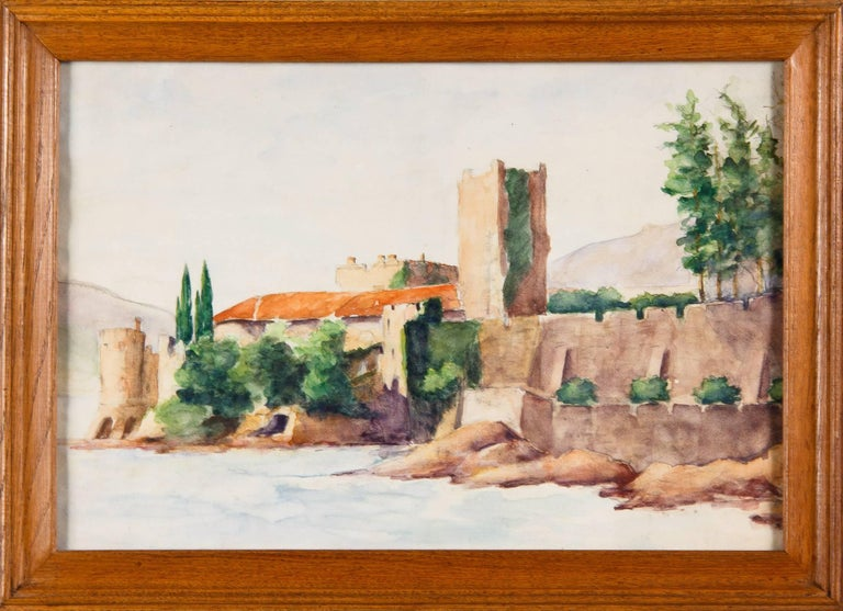 Framed Watercolor Painting with Fort, France, 20th Century For Sale 7