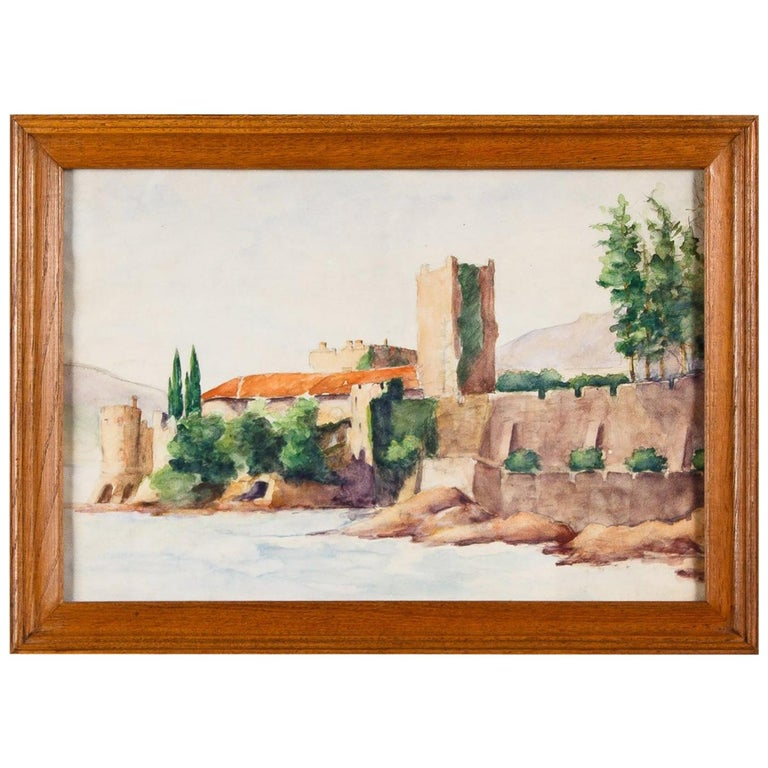 Framed Watercolor Painting with Fort, France, 20th Century For Sale