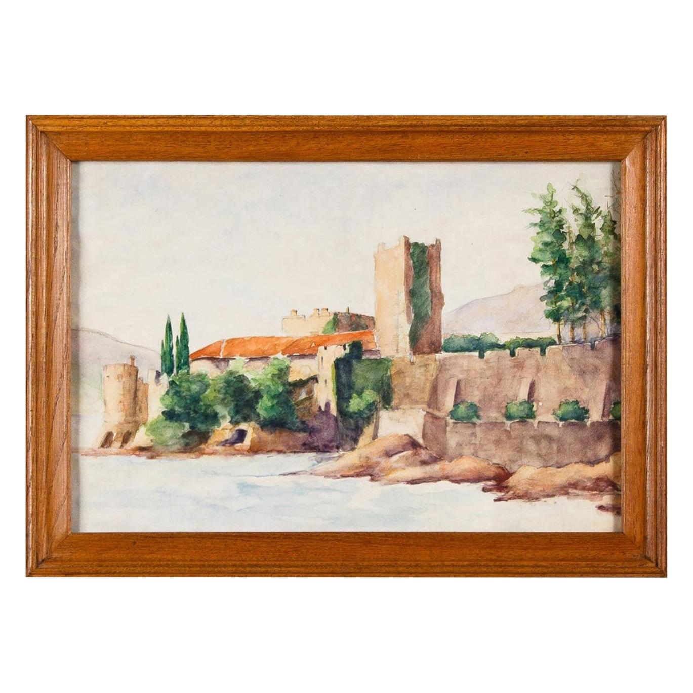 Framed Watercolor Painting with Fort, France, 20th Century