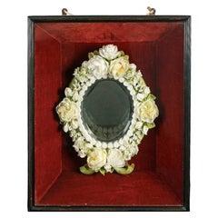 Framed Wax Mirror, 19th Century