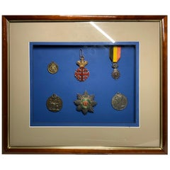 Framed Wood Display of Orders, Medals and Decorations