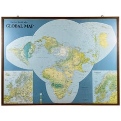 Framed World Map by Scandinavian Airlines, Esselte Map Service 1979
