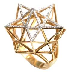 Framework Star Partial Diamond Pave Gold Ring
