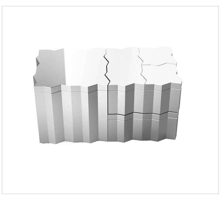 Frammenti is the name of the new collection designed by Borromea de Silva Studio for Driade. Each piece in the collection is a different boxes with fragmented outlines. Like a three dimensional puzzle, these boxes can be pulled together to create