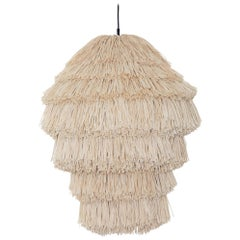 Fran AS Contemporary Floor Light in Raffia, Copper and Steel by Llot Llov