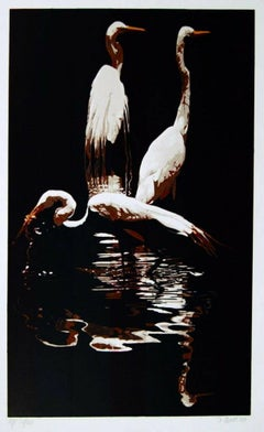 Three Egrets 1980 Limited Edition Silkscreen, Fran Bull