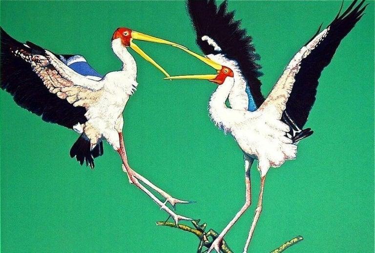 Two Storks, 1980 Limited Edition Silkscreen, Fran Bull - Print by Fran Bull