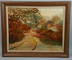Antique Female Landscape Oil Painting 1957
