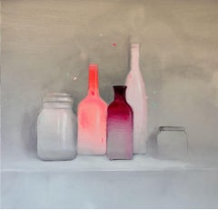 Botellas (Bottles),  Contemporary Oil on Canvas by Spanish Artist Fran Mora