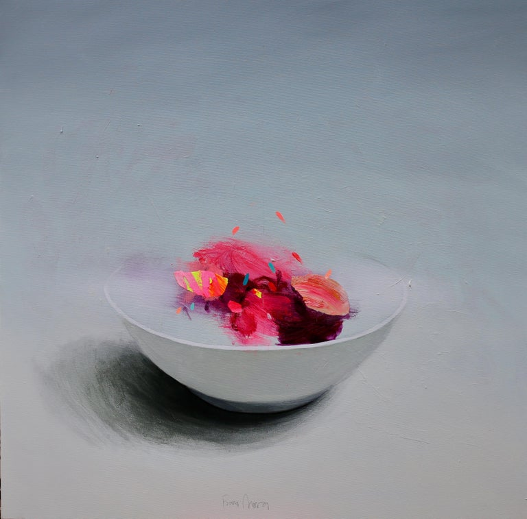 Bowl with Yellow - Contemporary Still Life by Spanish Artist Fran Mora - Painting by Fran Mora