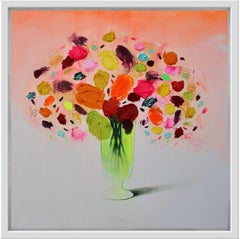 Flores with Orange, still life by Spanish Contemporary Artist Fran Mora