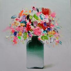 Flowers in a Green Vase,  Contemporary Oil on Canvas by Spanish Artist Fran Mora