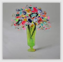 Flowers with Green Vase, still life by Spanish Contemporary Artist Fran Mora